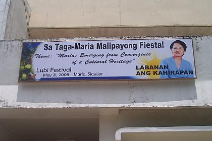 Pia daily news in english tagalog cebuano hiligaynon ilocano maria tarp president gloria macapagal arroyo may not be there but the maria towns fiesta celebration in siquijor province is complete with greetings from m4hsunfo
